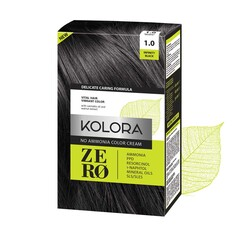 Kolora Zero - Kolora Zero Amonyaksız Krem Saç Boyası Derin Siyah 1.0