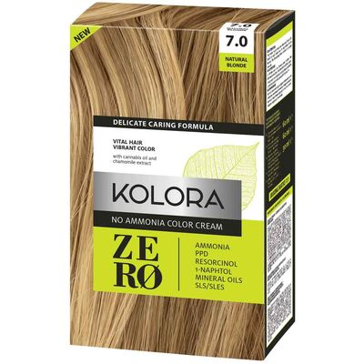 Kolora Zero Amonyaksız Krem Saç Boyası Doğal Sarı 7.0