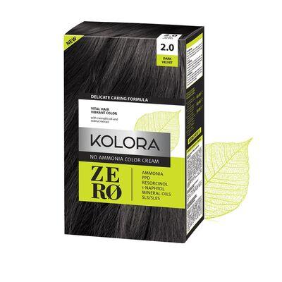 Kolora Zero Amonyaksız Krem Saç Boyası Kadife Siyah 2.0