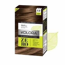 Kolora Zero - Kolora Zero Amonyaksız Krem Saç Boyası Kahverengi 5.0