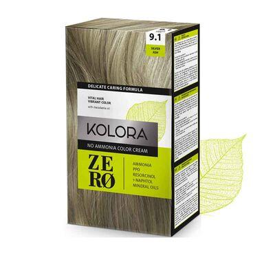 Kolora Zero Amonyaksız Krem Saç Boyası Küllü Gümüş 9.1