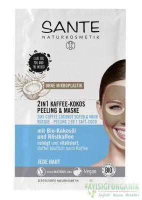 Sante Organik Hindistan Cevizi Yağı ve Kahve 2 si 1 arada Peeling ve Maske